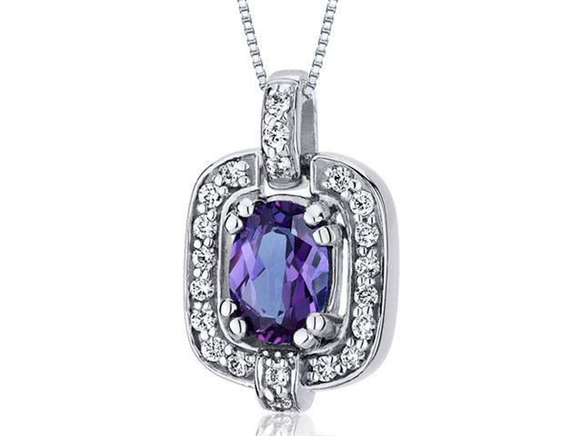 Dazzling Opulence 1.00 carats Oval Cut Sterling Silver Alexandrite Pendant with 18 inch Silver Necklace