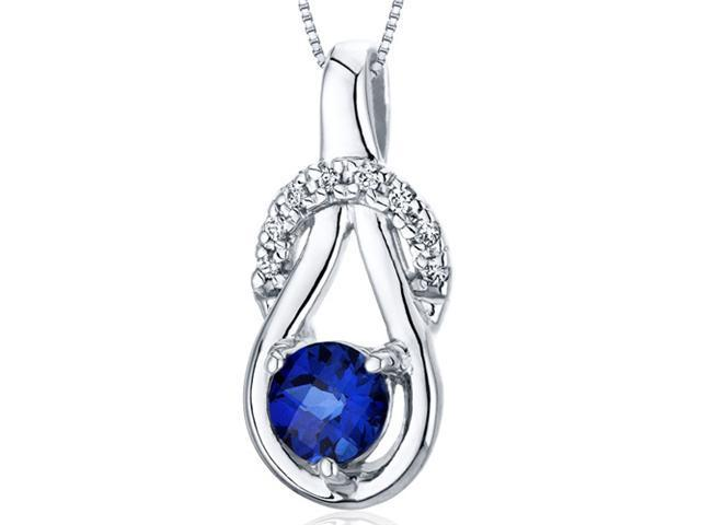 0.75 Ct. Round Created Blue Sapphire Pendant in Sterling Silver with 18
