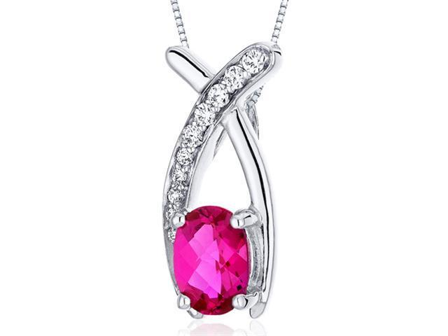 Oravo 1.00 Ct. Oval Cut Created Ruby in Sterling Silver Pendant with 18
