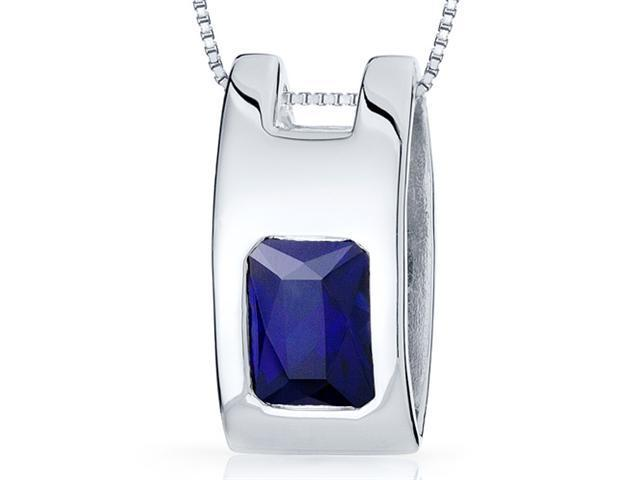 Vivid Color 2.00 carats Radiant Cut Sterling Silver Blue Sapphire Pendant with 18 inch Silver Necklace