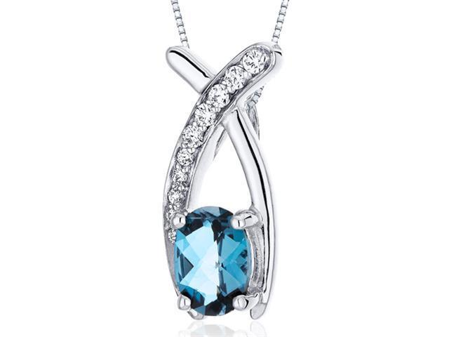 Oravo SP10048 Lucid Elegance 0.75 Ct. Oval London Blue Topaz Sterling Silver Pendant with 18