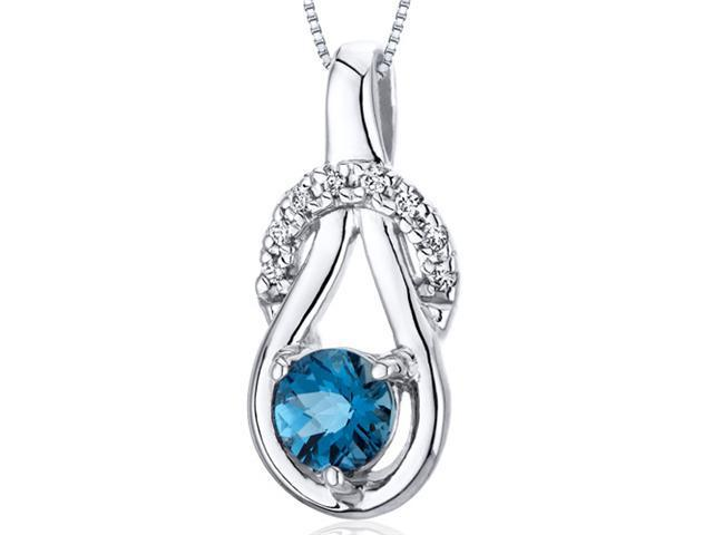 Oravo Elegant Glamour 0.50 cttw Round London Blue Topaz Sterling Silver Pendant with 18