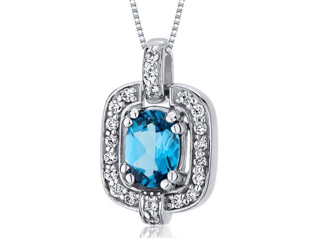 1.00 Ct. Oval Cut Swiss Blue Topaz in Sterling Silver Pendant with 18