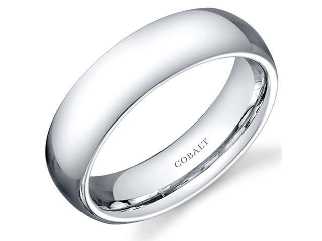 Traditional 6mm Comfort Fit Platinum Finish Mens Cobalt Wedding Band Ring Size 8