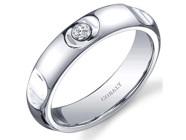 Solitaire Style 5mm Platinum Finish Notched Mens Cobalt Wedding Band Ring Size 8
