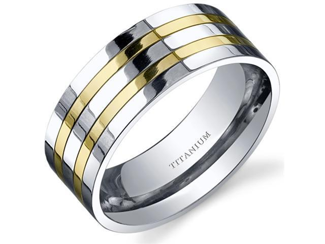 Traditional Mens 8mm Titanium Two Tone Wedding Band Ring Size 8
