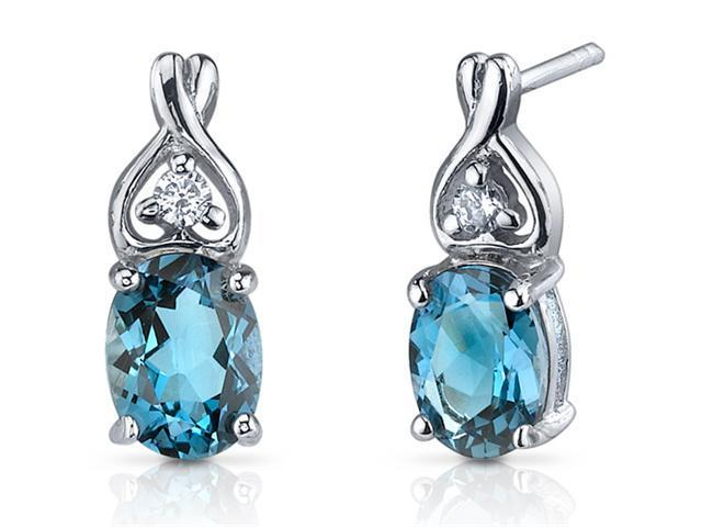 Oravo SE7212 Classy Style 3.00ct London Blue Topaz Oval Cut Cubic Zirconia Earrings in Sterling Silver