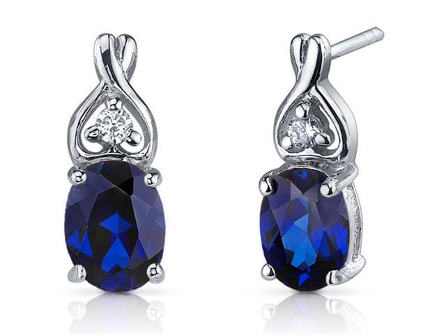 Classy Style 3.50 ct Blue Sapphire Oval Cut Cubic Zirconia Earrings in Sterling Silver