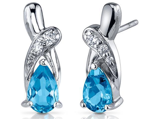 Graceful Glamour 2.00 Carats Swiss Blue Topaz Pear Shape Cubic Zirconia Earrings in Sterling Silver