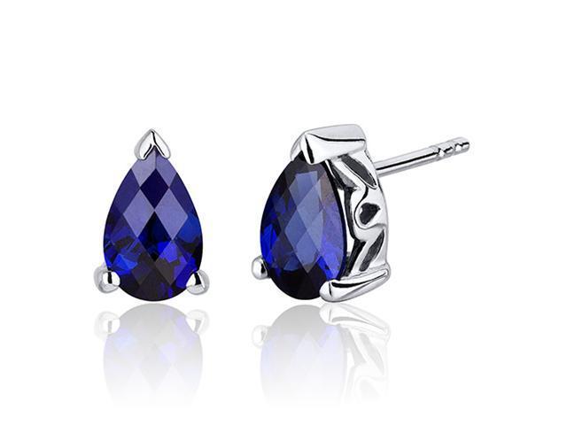 2.00 Carats Blue Sapphire Pear Shape Basket Style Stud Earrings in Sterling Silver