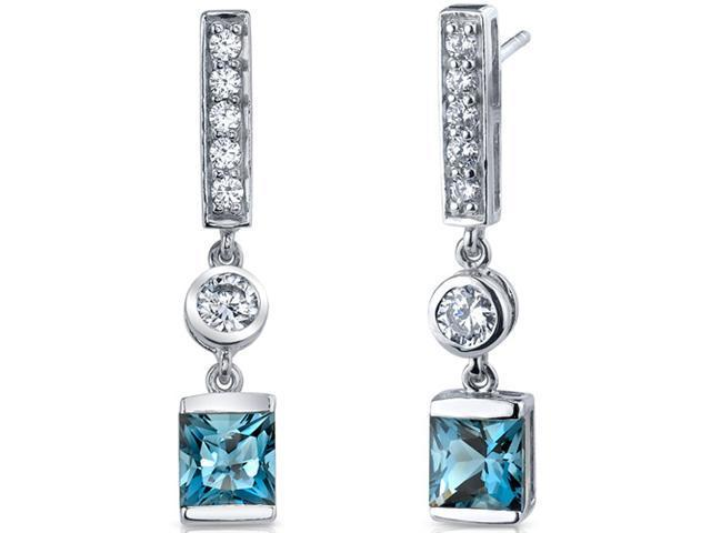 Exotic Sparkle 2.50 Carats London Blue Topaz Princess Cut Dangle Cubic Zirconia Earrings in Sterling Silver