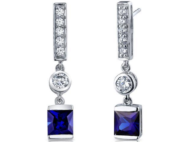 Exotic Sparkle 2.50 Carats Blue Sapphire Princess Cut Dangle Cubic Zirconia Earrings in Sterling Silver