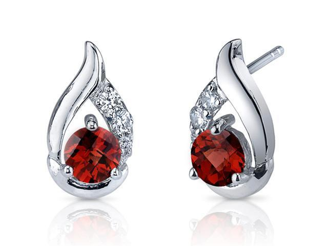 Radiant Teardrop 1.50 Carats Garnet Round Cut Cubic Zirconia Earrings in Sterling Silver