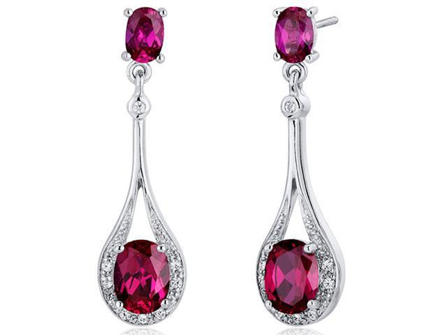 4.50 Ct. Oval Shaped Created Ruby Dangle Earrings in Sterling Silver