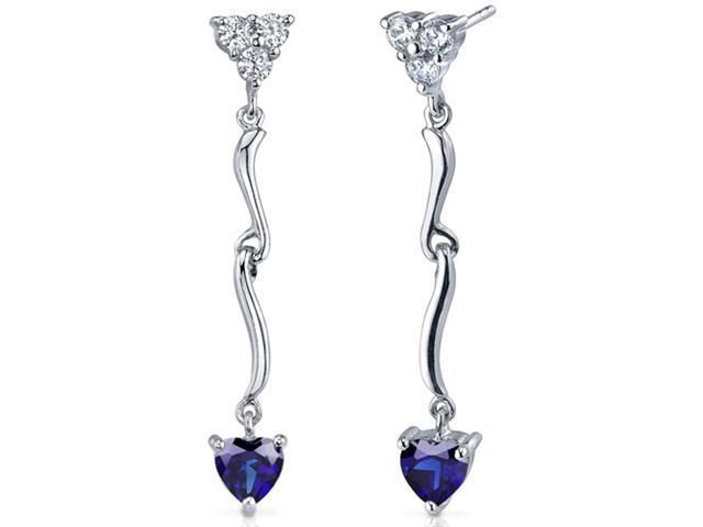 Brilliant Love 2.00 Carats Blue Sapphire Heart Shape Dangle Cubic Zirconia Earrings in Sterling Silver