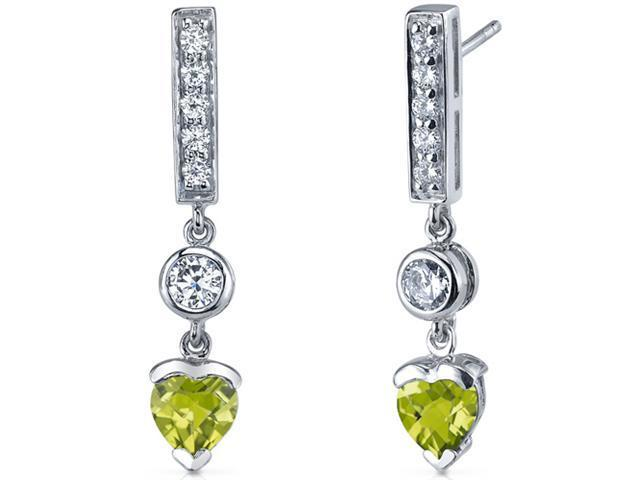 Exotic Love 1.50 Carats Peridot Heart Shape Dangle Cubic Zirconia Earrings in Sterling Silver
