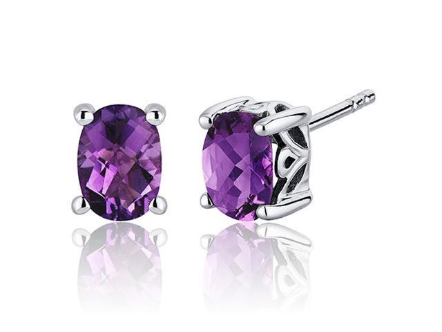 Basket Style 1.50 Carats Amethyst Oval Cut Stud Earrings in Sterling Silver