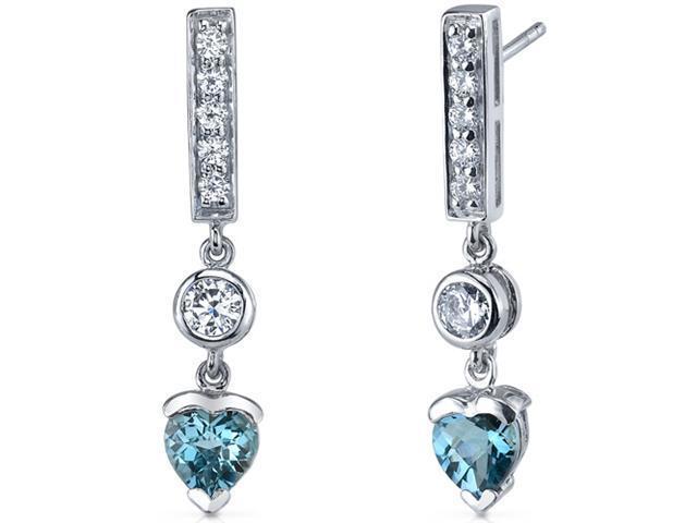 Exotic Love 2.00 Carats London Blue Topaz Heart Shape Dangle Cubic Zirconia Earrings in Sterling Silver