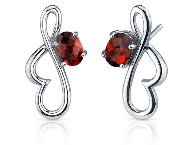 Rhythmic Curves 2.00 Carats Garnet Oval Cut Earrings in Sterling Silver