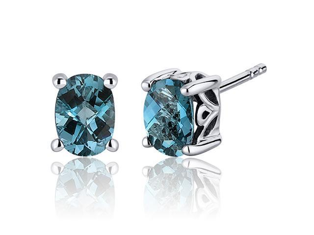 Basket Style 1.50 Carats London Blue Topaz Oval Cut Stud Earrings in Sterling Silver