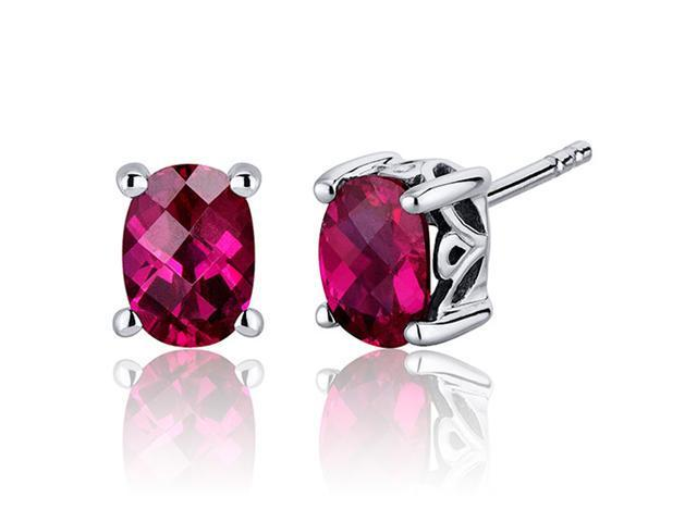 Oravo SE7970 Basket Style 2.00 Carats Ruby Oval Cut Stud Earrings in Sterling Silver