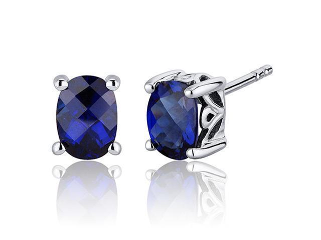 Basket Style 2.00 Carats Blue Sapphire Oval Cut Stud Earrings in Sterling Silver