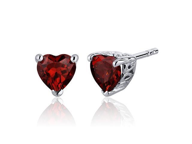 Oravo SE7980 2.00 Carats Garnet Heart Shape Stud Earrings in Sterling Silver