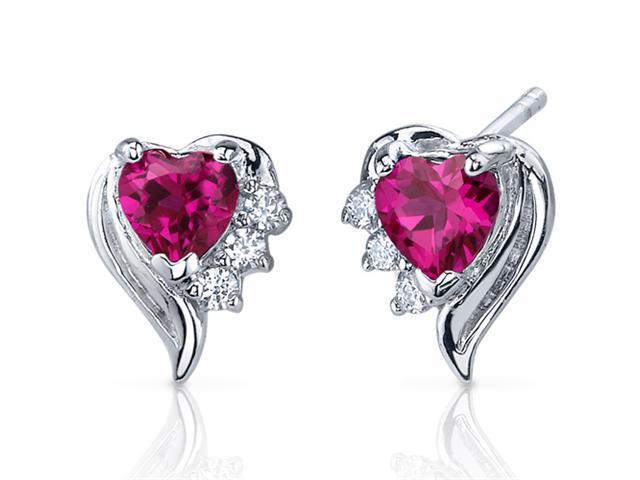Oravo SE7376 1.50 Ct. Heart Cut Created Ruby Cubic Zirconia Earrings in Sterling Silver
