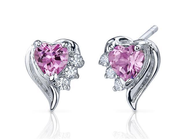 Cupids Grace 1.50 Carats Pink Sapphire Heart Shape Cubic Zirconia Earrings in Sterling Silver