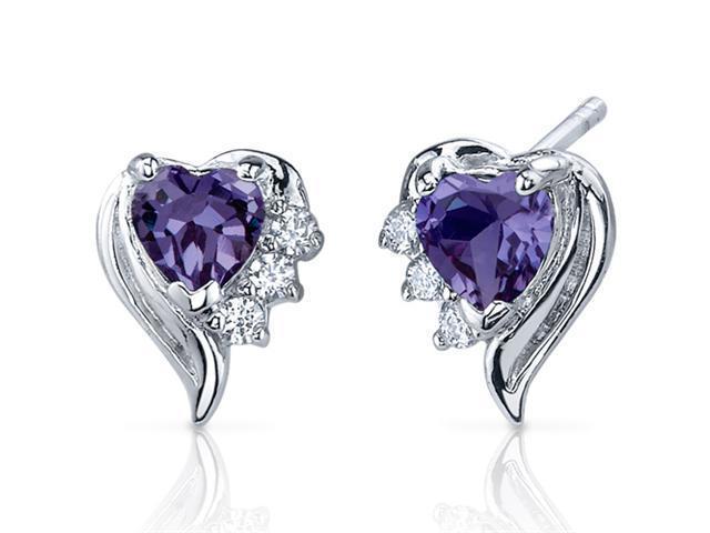 Oravo SE7382 Cupids Grace 1.50 Carats Alexandrite Heart Shape Cubic Zirconia Earrings in Sterling Silver