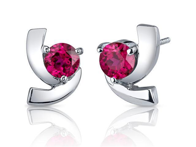 Illuminating 2.50 Carats Ruby Round Cut Earrings in Sterling Silver