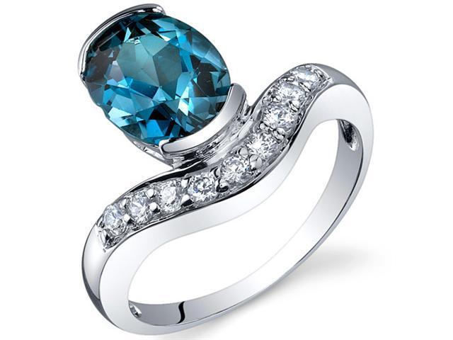 Channel Set 2.00 carats London Blue Topaz Diamond CZ Ring in Sterling Silver Size 9