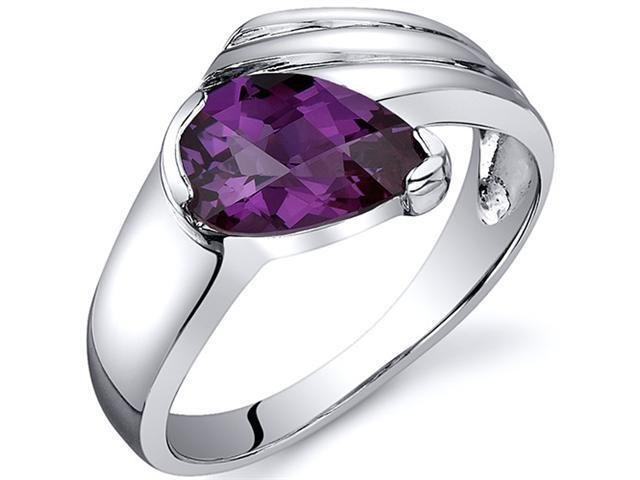 Contemporary Pear Shape 1.75 carats Alexandrite Ring in Sterling Silver Size  6, Available in Sizes 5 thru 9
