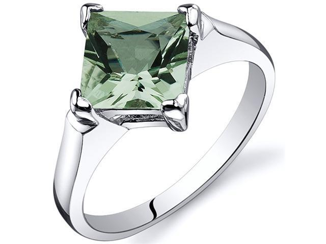 Striking 1.50 carats Green Amethyst Engagement Ring in Sterling Silver Size  8, Available in Sizes 5 thru 9