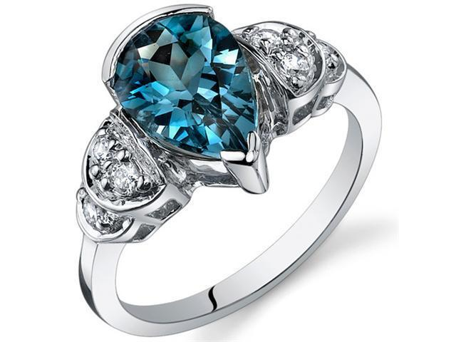 Tear Drop 2.00 carats London Blue Topaz Solitaire Engagement Ring in Sterling Silver Size 5