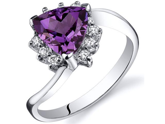 Trillion Cut 1.75 carats Alexandrite Bypass Ring in Sterling Silver Size  7, Available in Sizes 5 thru 9