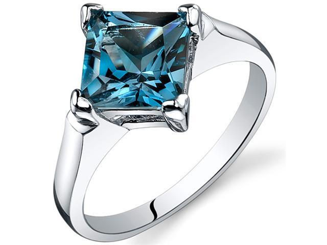 Striking 2.00 carats London Blue Topaz Engagement Ring in Sterling Silver Size  7, Available in Sizes 5 thru 9