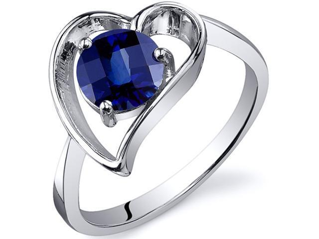 Heart Shape 1.25 carats Blue Sapphire Solitaire Ring in Sterling Silver Size  5, Available in Sizes 5 thru 9