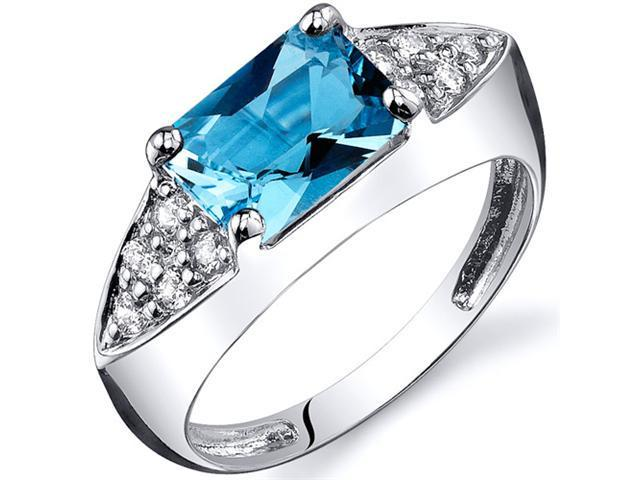 Sleek Sophistication 1.75 carats Swiss Blue Topaz CZ Diamond Ring in Sterling Silver Size  6, Available in Sizes 5 thru 9