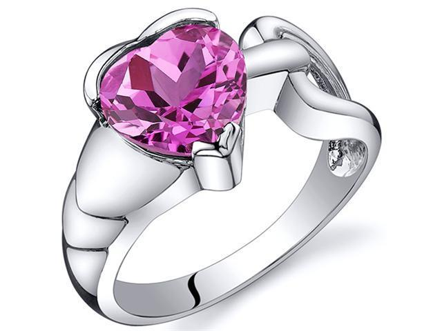 Love Knot Style 2.50 carats Pink Sapphire Ring in Sterling Silver Size  6, Available in Sizes 5 thru 9