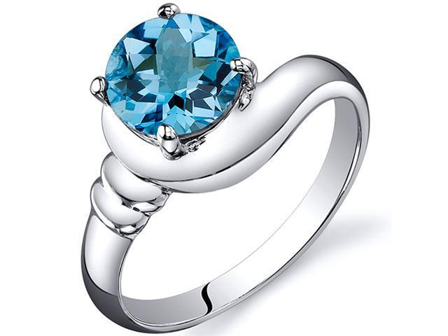Smooth Seduction 1.50 carats Swiss Blue Topaz Solitaire Ring in Sterling Silver Size  9, Available in Sizes 5 thru 9