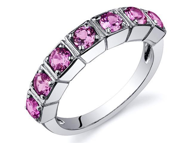 7 Stone 1.75 Carats Pink Sapphire Band Ring in Sterling Silver Size 7