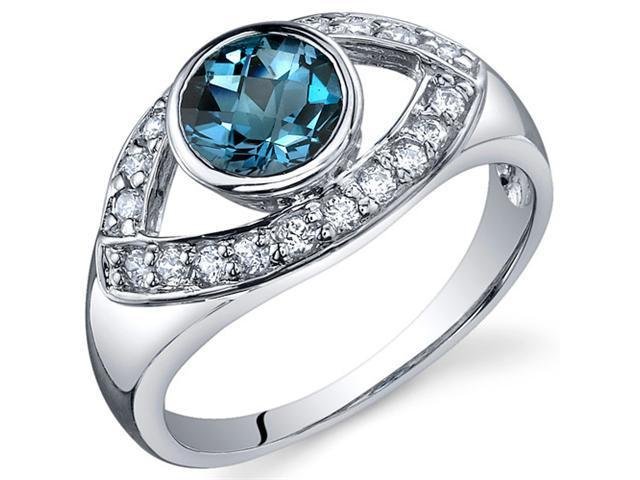 Captivating Curves 1.00 carats London Blue Topaz Ring in Sterling Silver Size 6