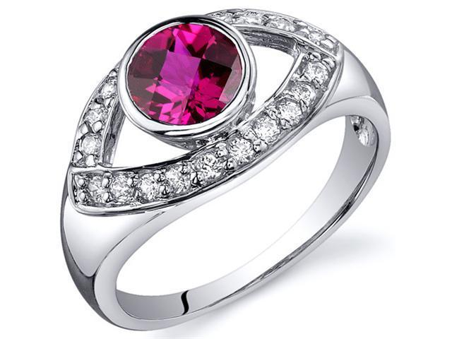 Captivating Curves 1.00 carats Ruby Ring in Sterling Silver Size 7