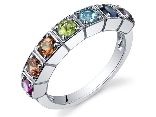 7 Stone Rainbow  1.75 Carats Multi Gemstone Band Ring in Sterling Silver Size 8