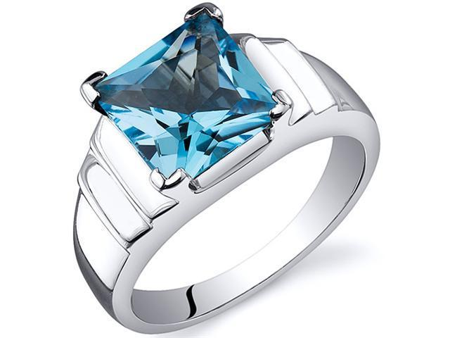 Step Design Princess Cut 2.75 carats Swiss Blue Topaz Ring in Sterling Silver Size  5, Available in Sizes 5 thru 9
