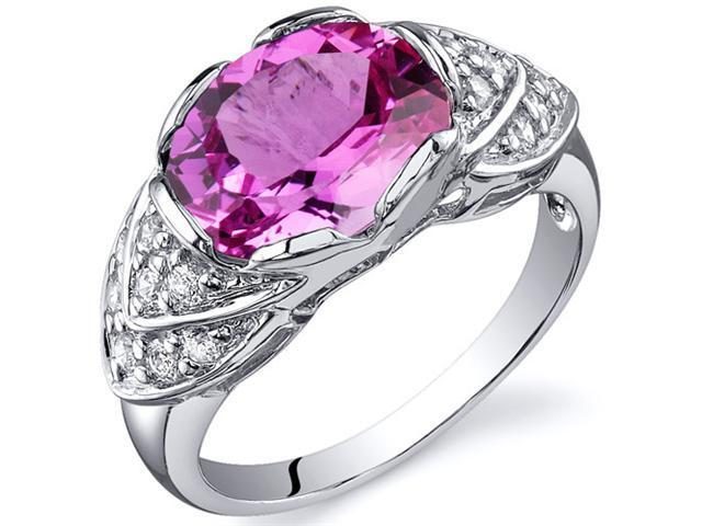 Classy Brilliance 3.50 carats Pink Sapphire Cocktail Ring in Sterling Silver Size 8