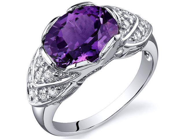 Classy Brilliance 3.50 carats Alexandrite Cocktail Ring in Sterling Silver Size 8