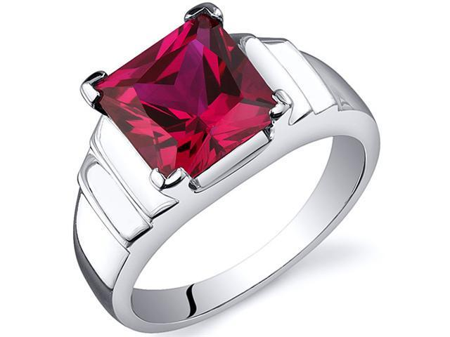 Step Design Princess Cut 3.25 carats Ruby Ring in Sterling Silver Size  5, Available in Sizes 5 thru 9