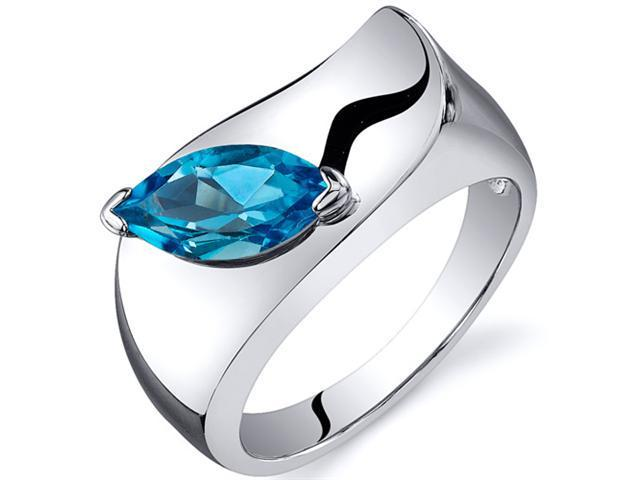 Musuem Style Marquise Cut 1.00 carats Swiss Blue Topaz Ring in Sterling Silver Size  8, Available in Sizes 5 thru 9